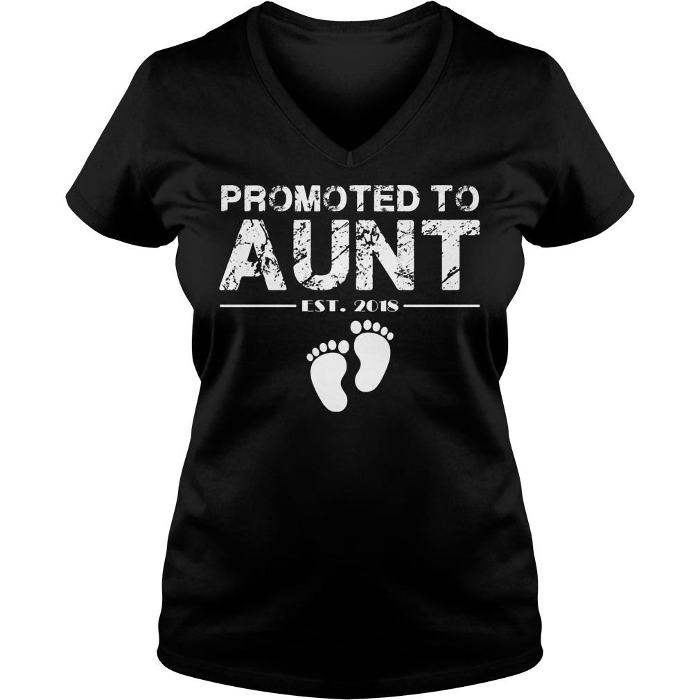 Promoted To Aunt Est 2018 V Neck