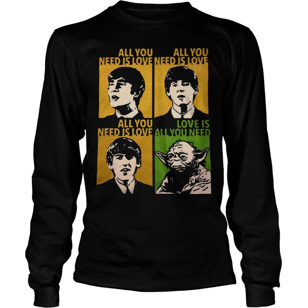All You Need Is Love Beatles Yoda Longsleeve