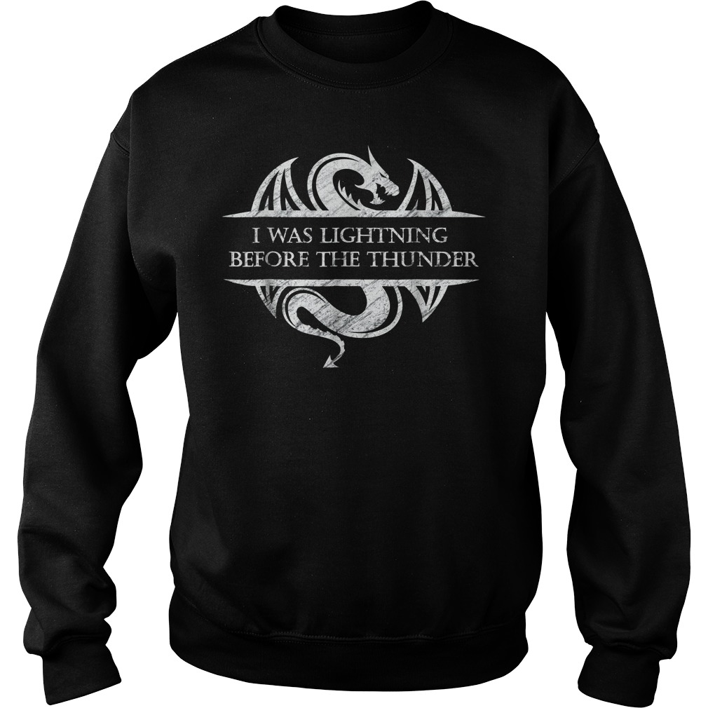 I Was Lightning Before The Thunder White Dragon Sweater