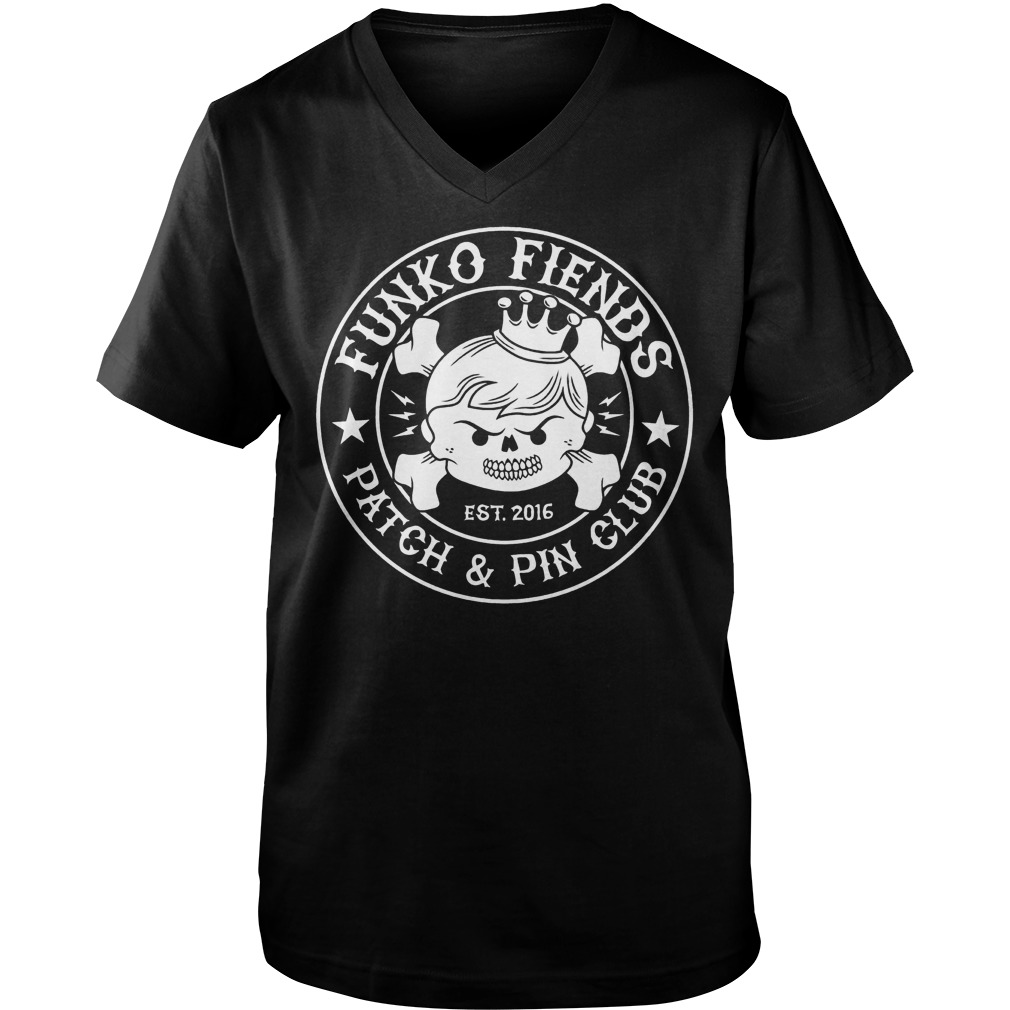 Funko Fiends Patch And Pin Club Est 2016 T-Shirt Guys V-Neck