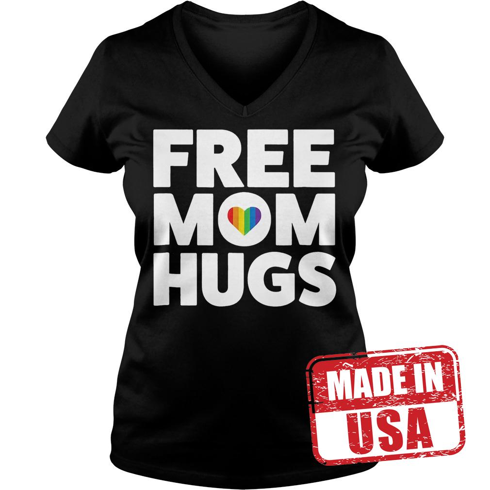 Original Free Mom Hugs Rainbow Heart shirt Ladies V-Neck