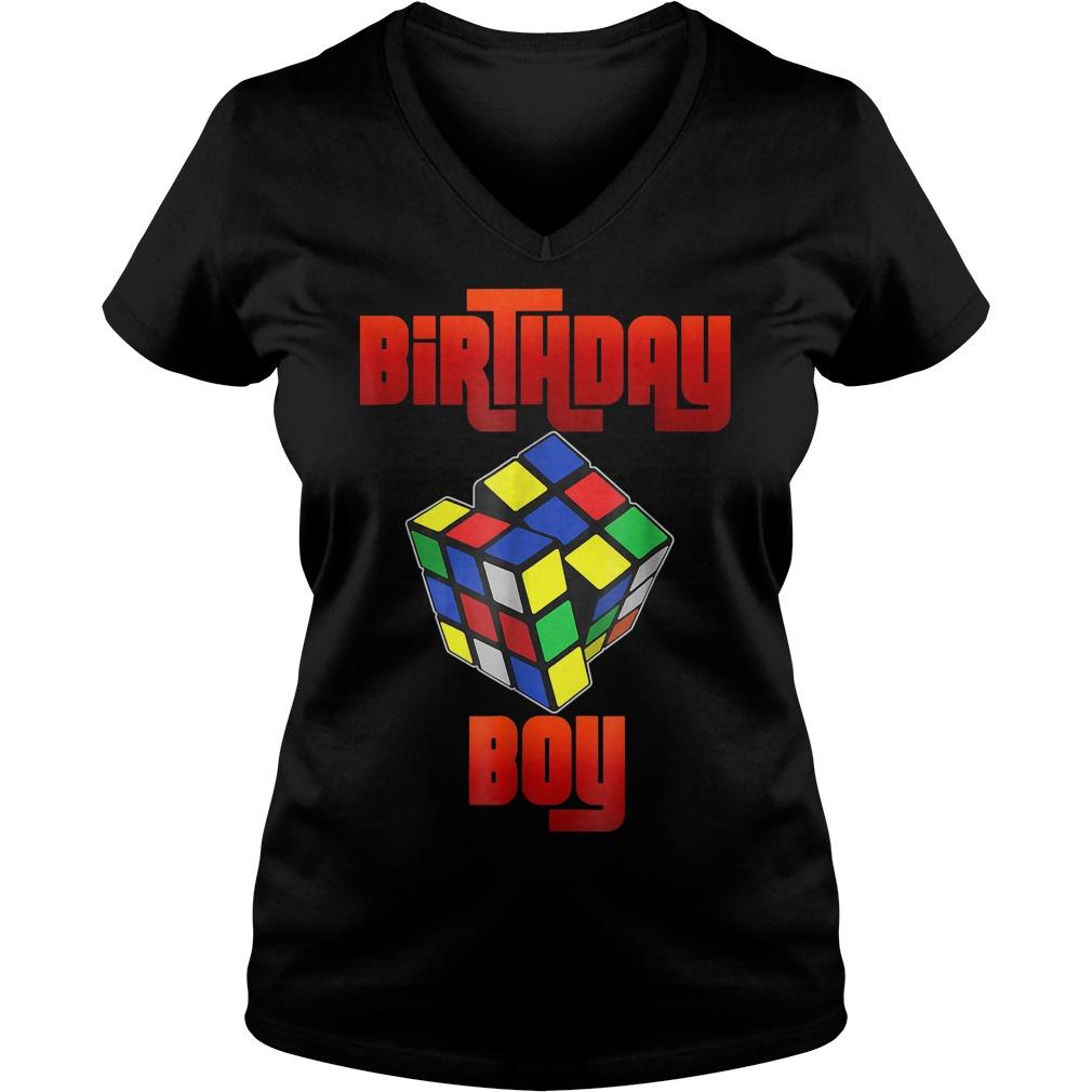 Rubik Cube Birthday Boy Shirt Ladies V-Neck