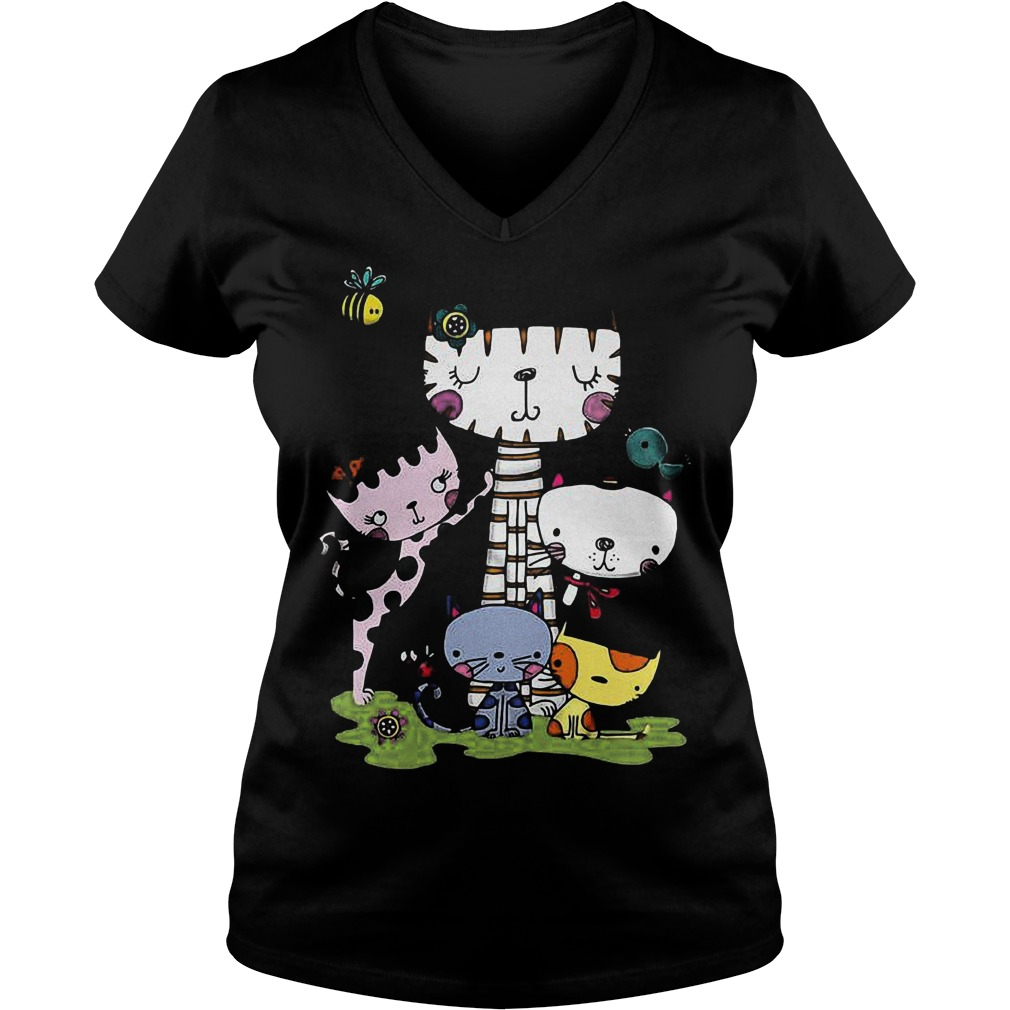 Cute cartoon cat squad and bee Shirt Ladies V-Neck
