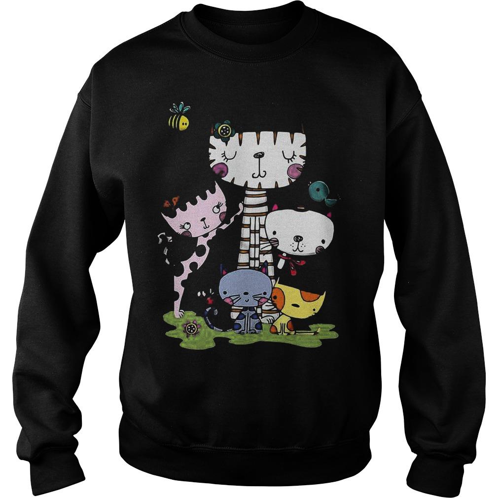 Cute cartoon cat squad and bee Shirt Sweatshirt Unisex