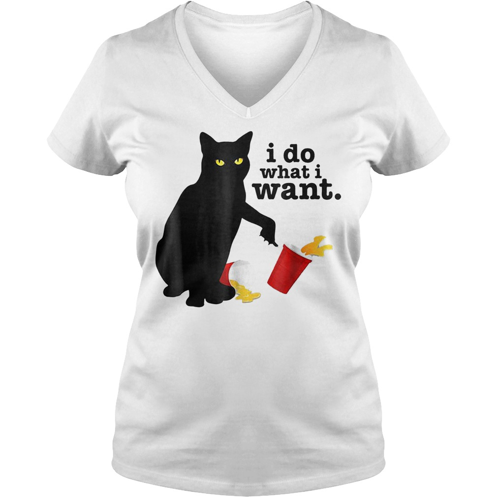 7606296f5 Funny Black cat red cup i do what i want Shirt Ladies V-Neck. Funny Black  cat red cup i do what i want Shirt Ladies V-Neck