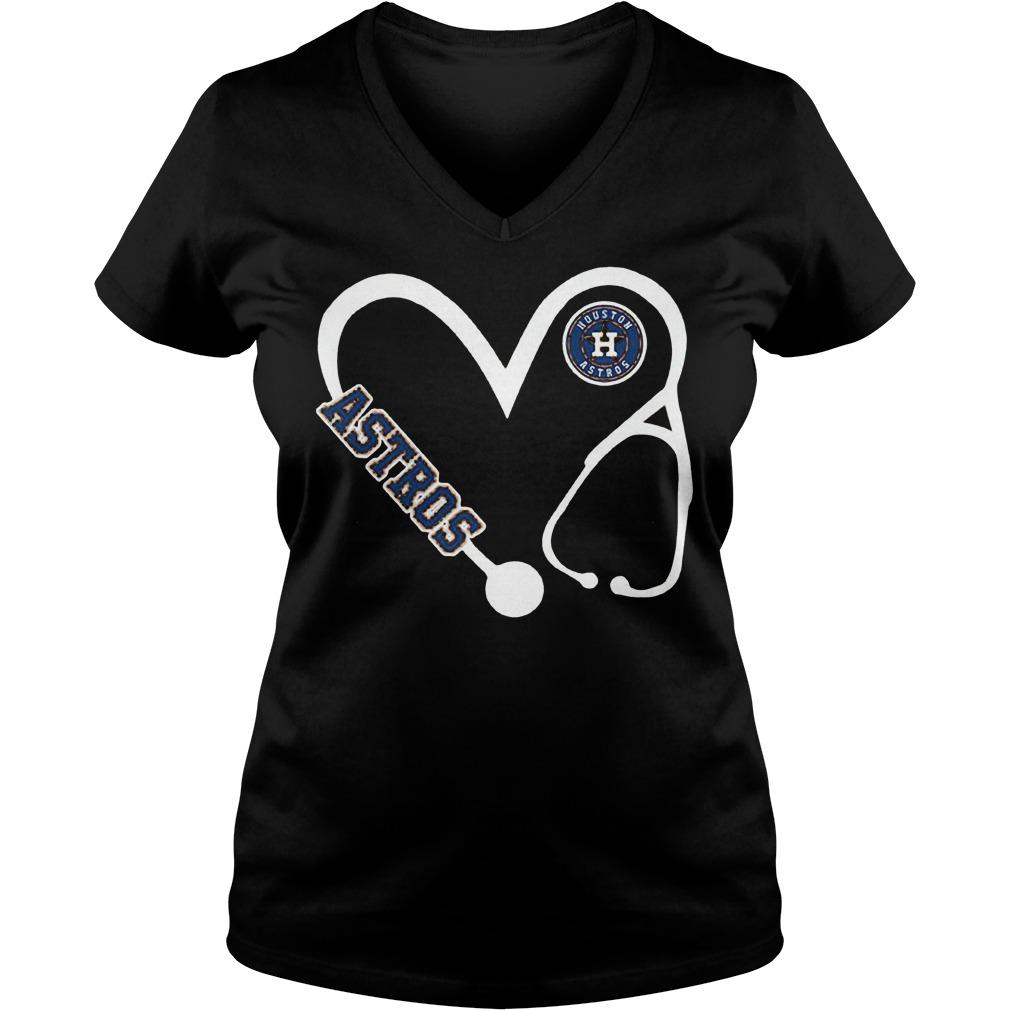 Heart Houston Astros nurse shirt Ladies V-Neck