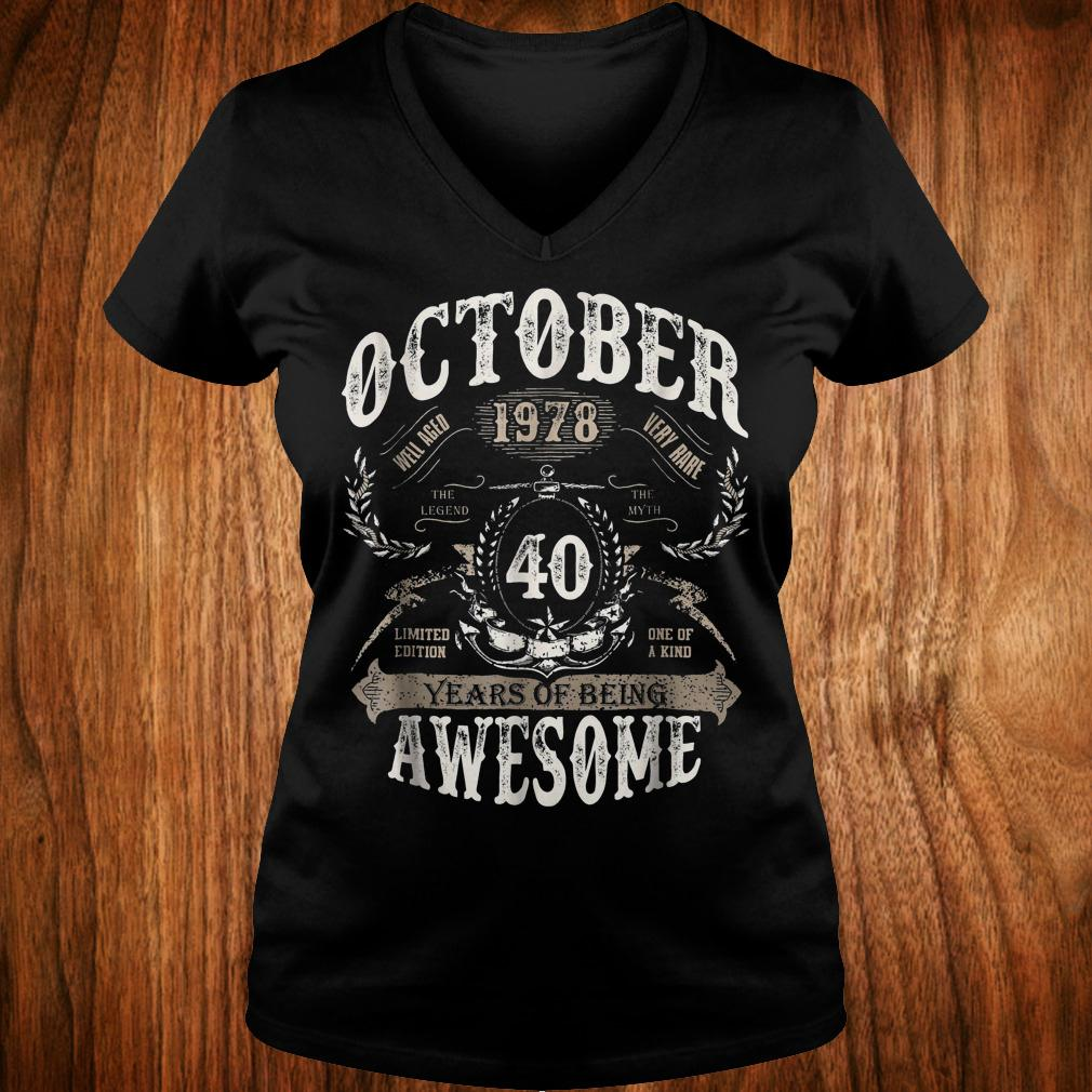 Original October 1978 40 years of being awesome Shirt Ladies V-Neck