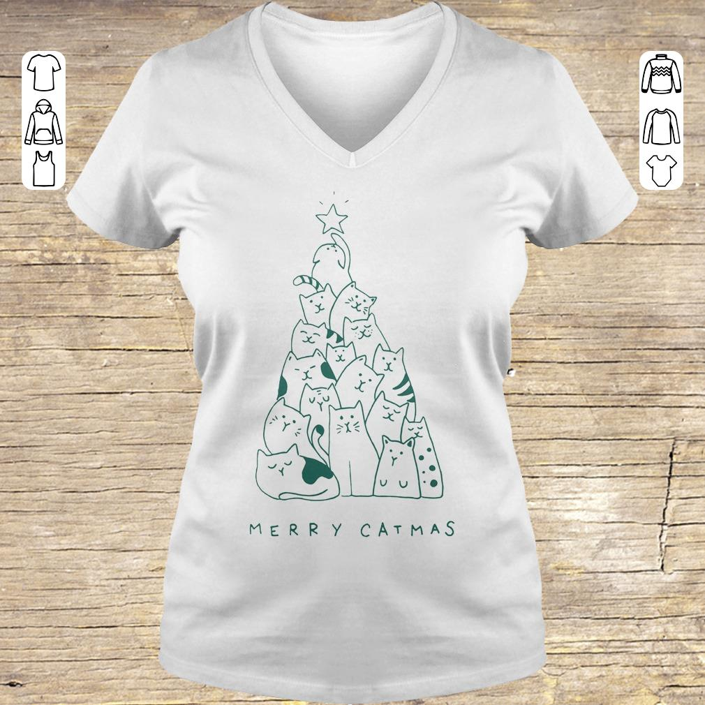 Hot Merry catmas shirt sweater Ladies V-Neck