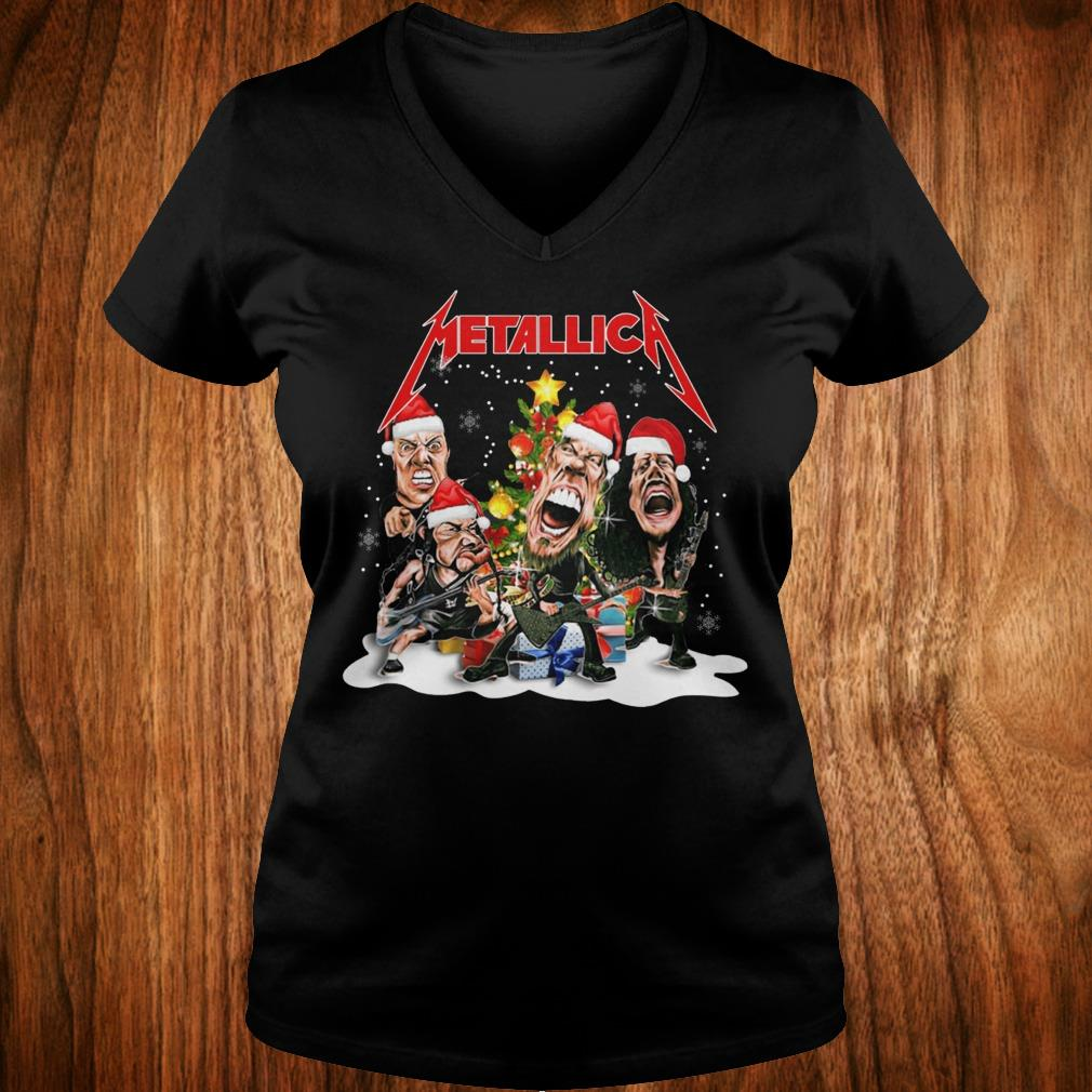 Nice Metallica Christmas tree shirt Ladies V-Neck