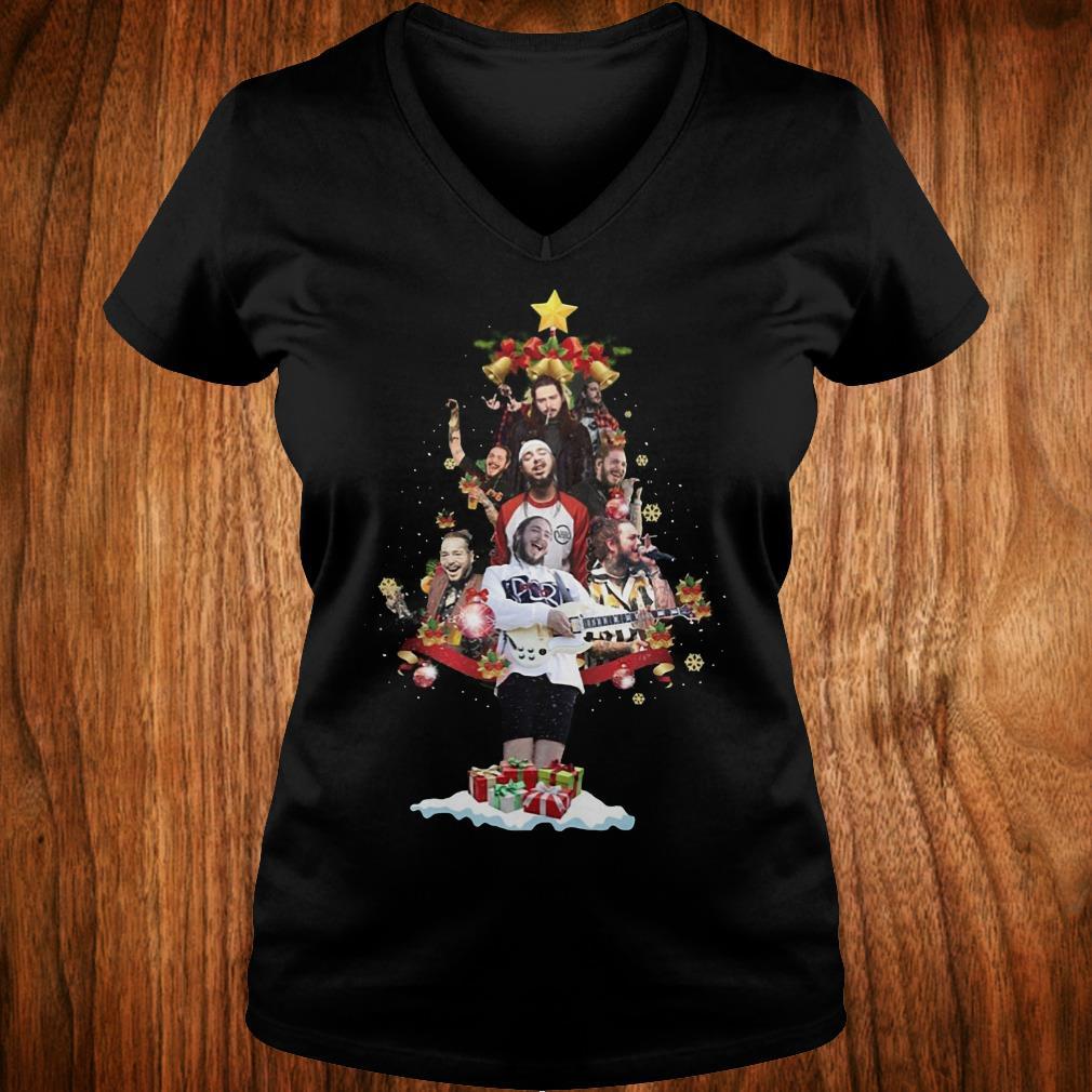 Premium Malone Christmas tree sweatshirt Ladies V-Neck