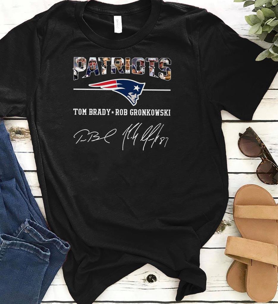 meet ef71a 6d1d9 Hot Patriots Tom Brady Rob Gronkowski Signature shirt
