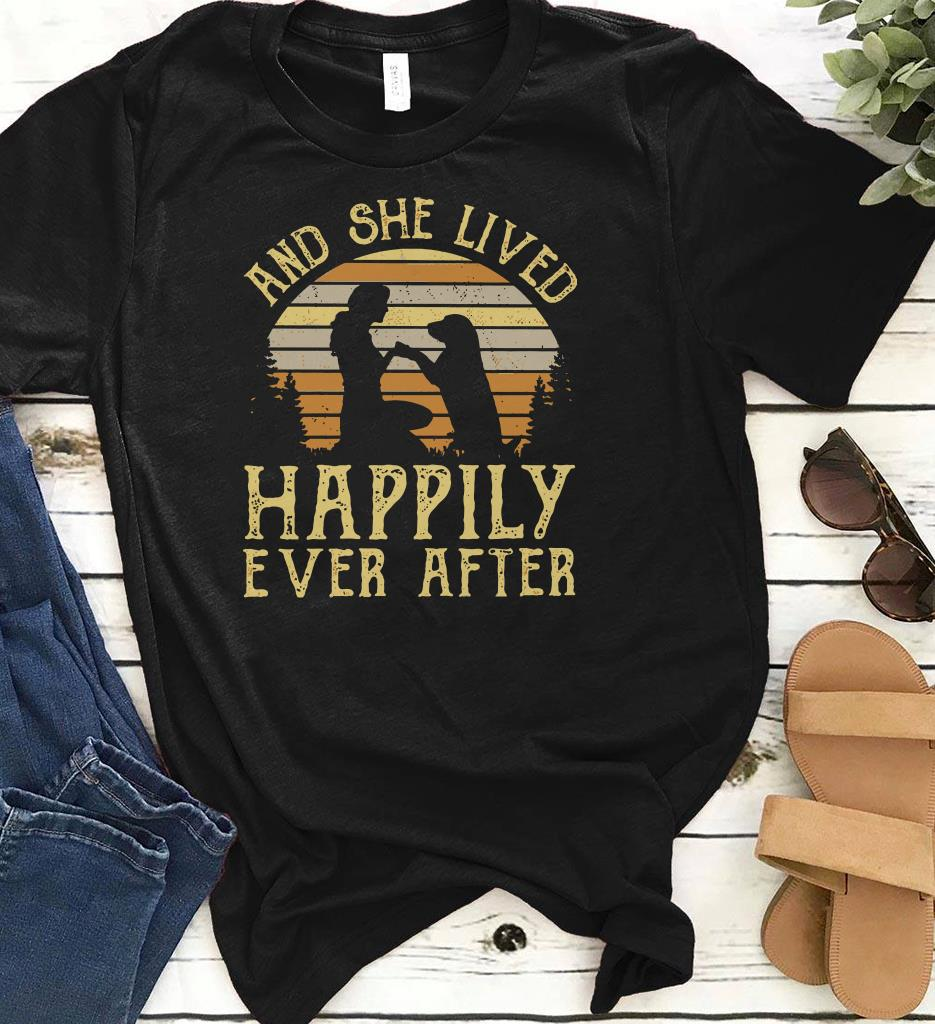 Sunset Retro Style Girl And Her Dog She Lived Happily Ever After Shirt 1 1.jpg