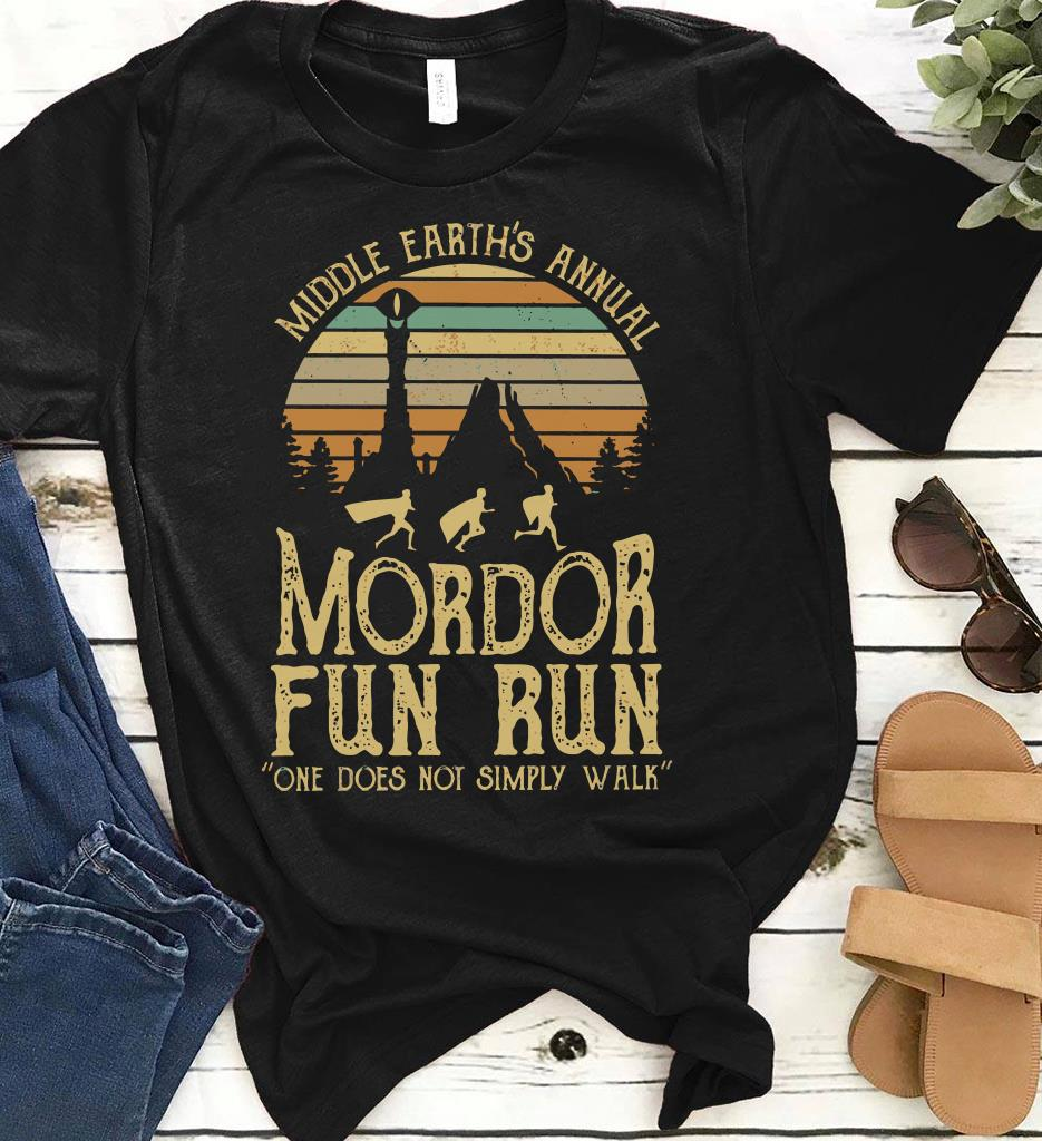 66ffec962 Sunset Middle Earth S Annual Mordor Fun Run One Does Not Simply Walk Shirt 1  2