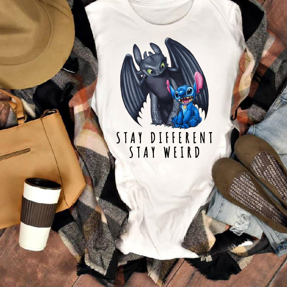 Original Toothless and Stitch Stay different stay weird shirt