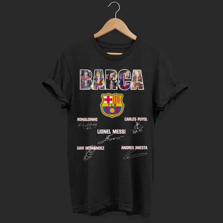 Barcelona Barca all signatures Ronaldinho Lionel Messi Carles Puyol shirt