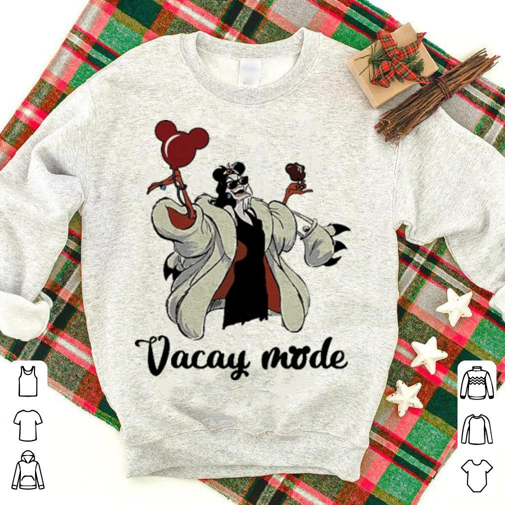 Cruella de Vil vacay mode cream and balloons Mickey Mouse shirt