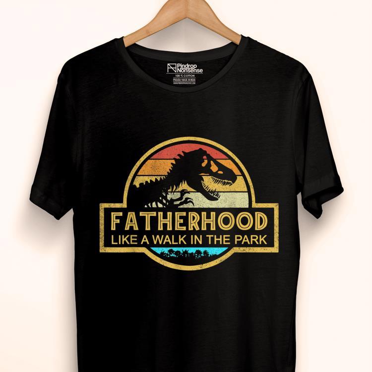 Fatherhood Like A Walk In The Park Sunset Retro Shirt 1 1.jpg