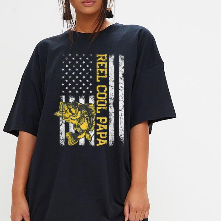 Fathers Day Fishing Reel Cool Papa American Flag Shirt 3 1.jpg