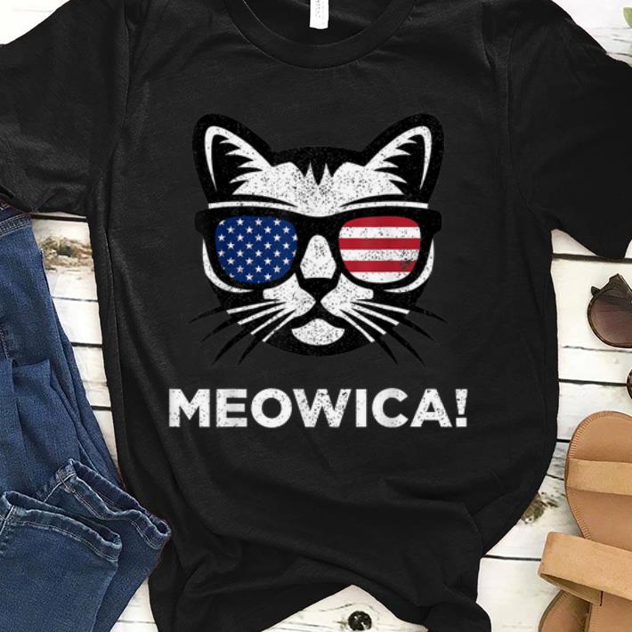 4th Of July Meowica Cat American Flag Glasses shirt
