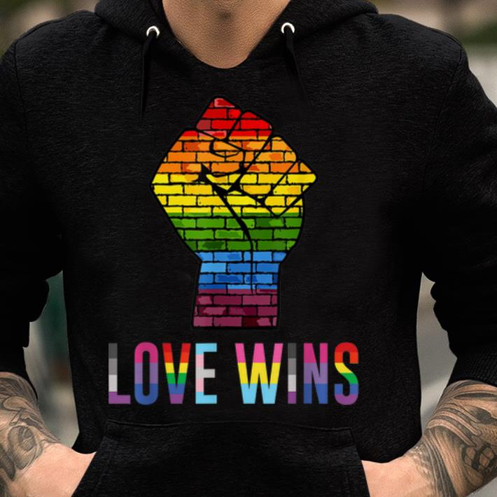 Awesome Love Wins Raised Fist LGBT Gay Pride Awareness Month shirt