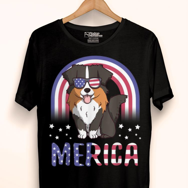 Merica Australian Shepherd Dog Usa Flag 4th Of July shirt