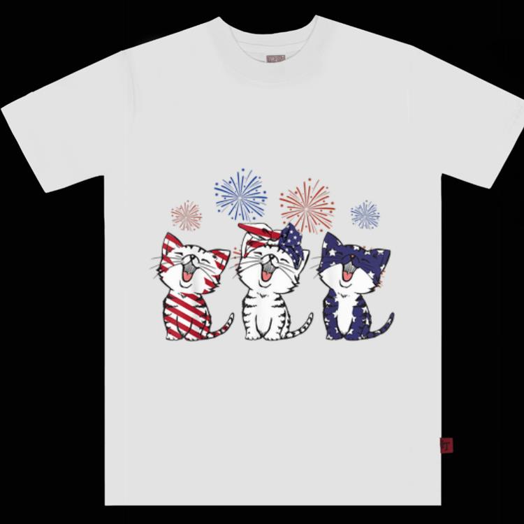 Pretty Red White Blue Cats Usa Flag Firework 4th Of July Shirt 1 1.jpg