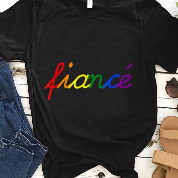 Awesome Fiance LGBT Rainbow Flag Gay Lesbian Engagemen shirt