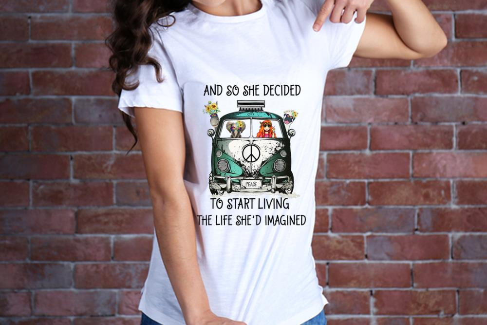 Hot And So She Decided To Start Living The Life She Imagined Peace Hippie Bus Girl And Elephant Shirt 2 1.jpg