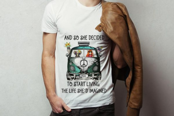 Hot And So She Decided To Start Living The Life She Imagined Peace Hippie Bus Girl And Elephant Shirt 3 1.jpg