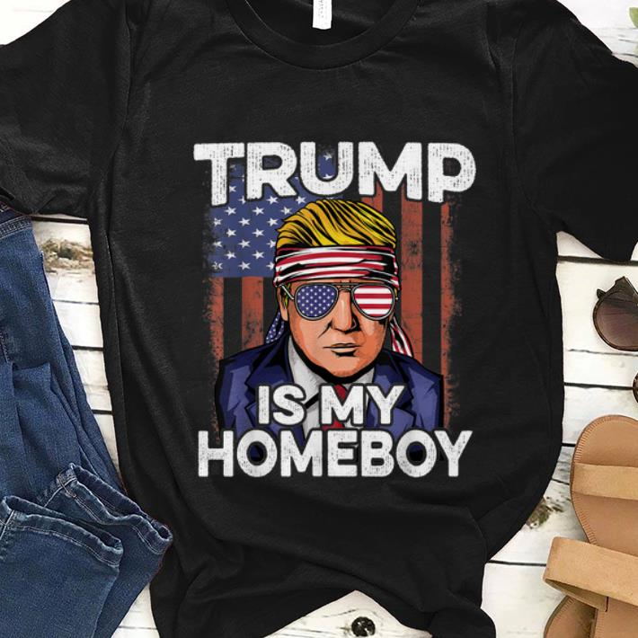 Hot Donald Trump Is My Homeboy Glasses Headband Usa Flag 4th Of July shirt