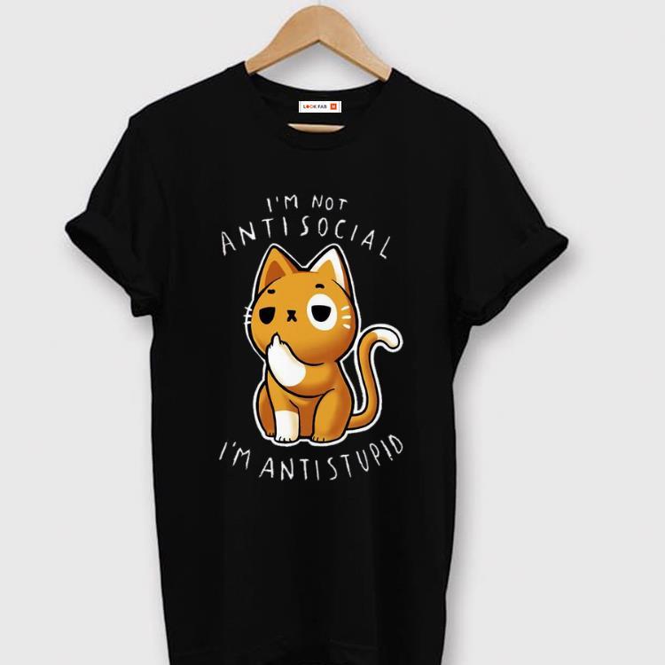Hot I M Not Anti Social I M Anti Stupid Middle Finger Cat Shirt 1 1.jpg