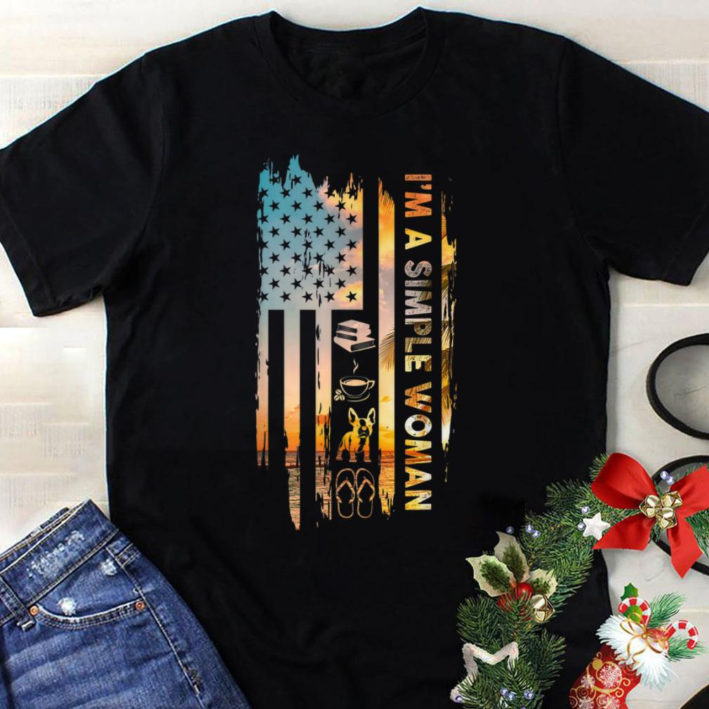 Hot Trend American Flag French Bulldog I A Simple Woman Book Coffee Flip Flop Shirt 1 1.jpg