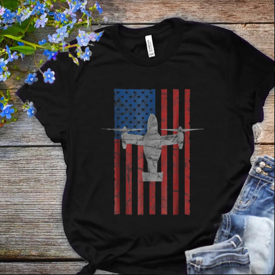 Original Mv 22 Osprey Aircraft American Flag For 4th Of July shirt