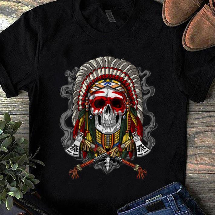 Pretty Native American Chief Skull Indian Headdress Shirt 1 1.jpg