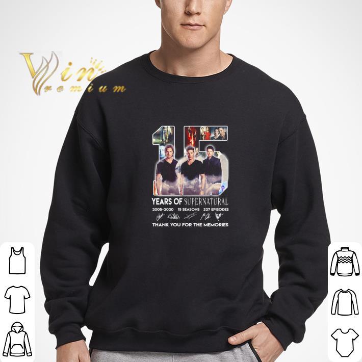 Awesome 15 years of Supernatural 2005-2020 15 seasons signatures 327 ep shirt