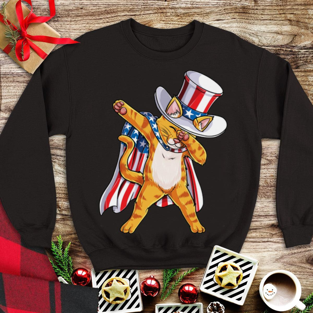 American Flag Patriot Cat Dabbing 4th July Independence Day shirt