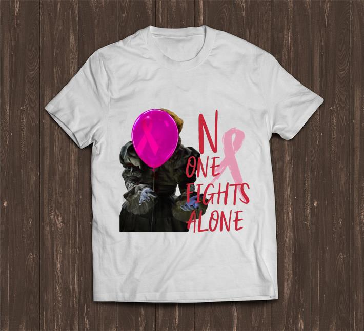 Awesome Pennywise No One Fights Alone Breast Cancer Awareness shirt
