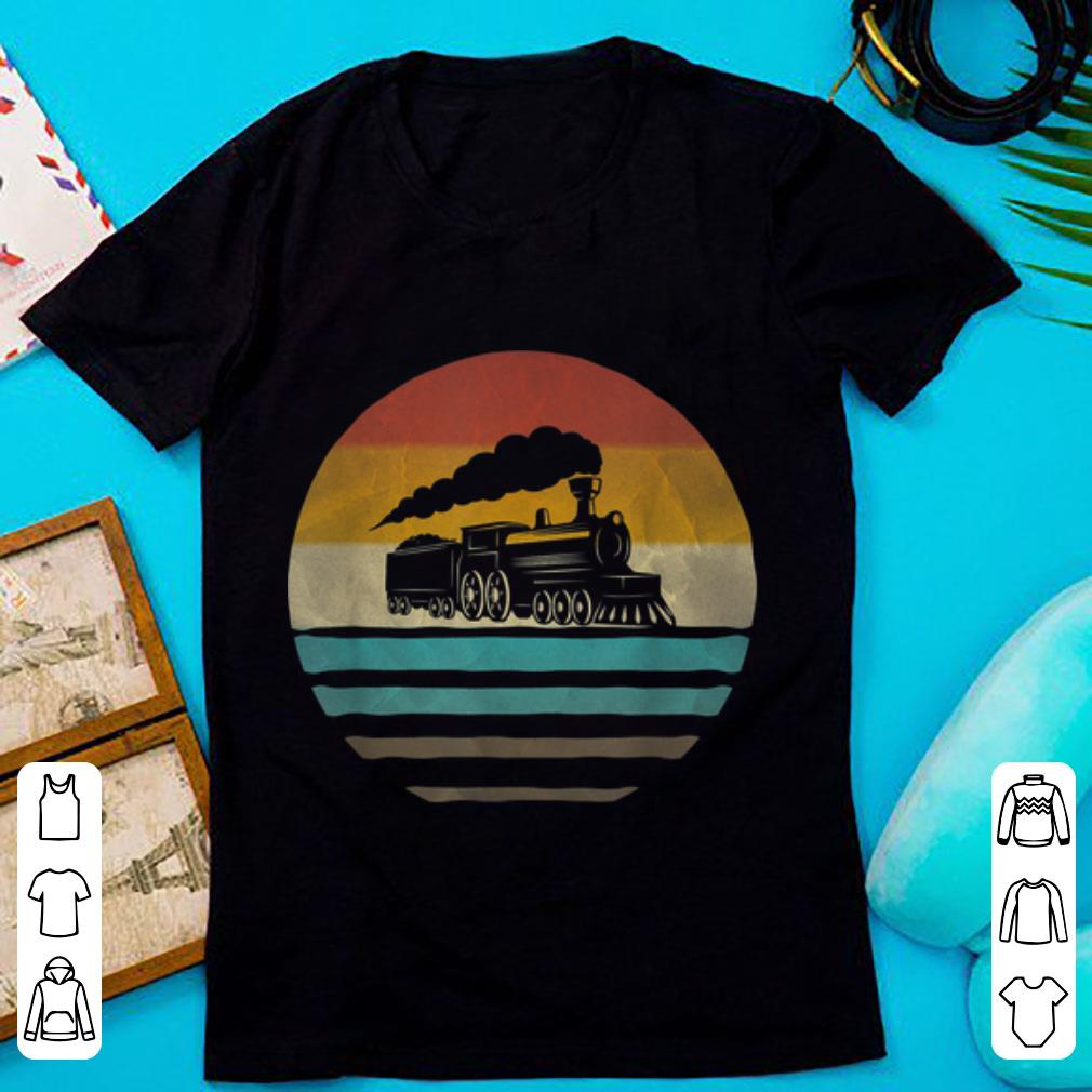 Awesome Train Driver Retro Vintage Silhouette Distressed Gift shirt