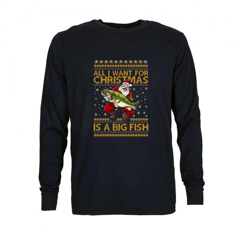 Premium Santa Claus All i want for Christmas is a big fish shirt