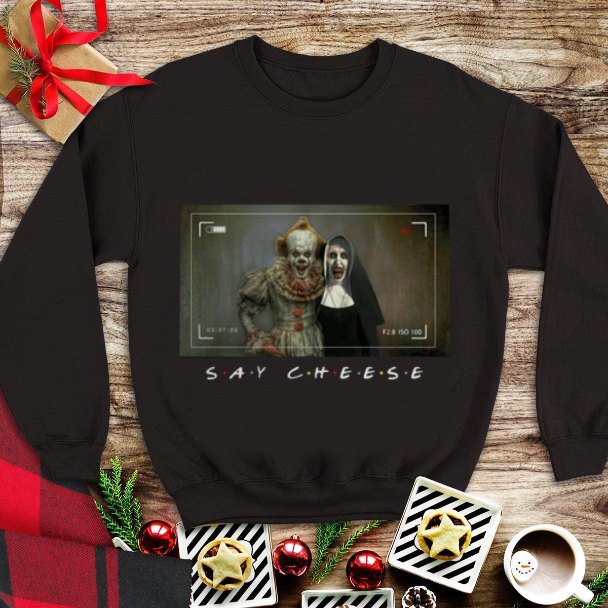 Say Cheese Pennywise And Valak Shirt 1 1.jpg