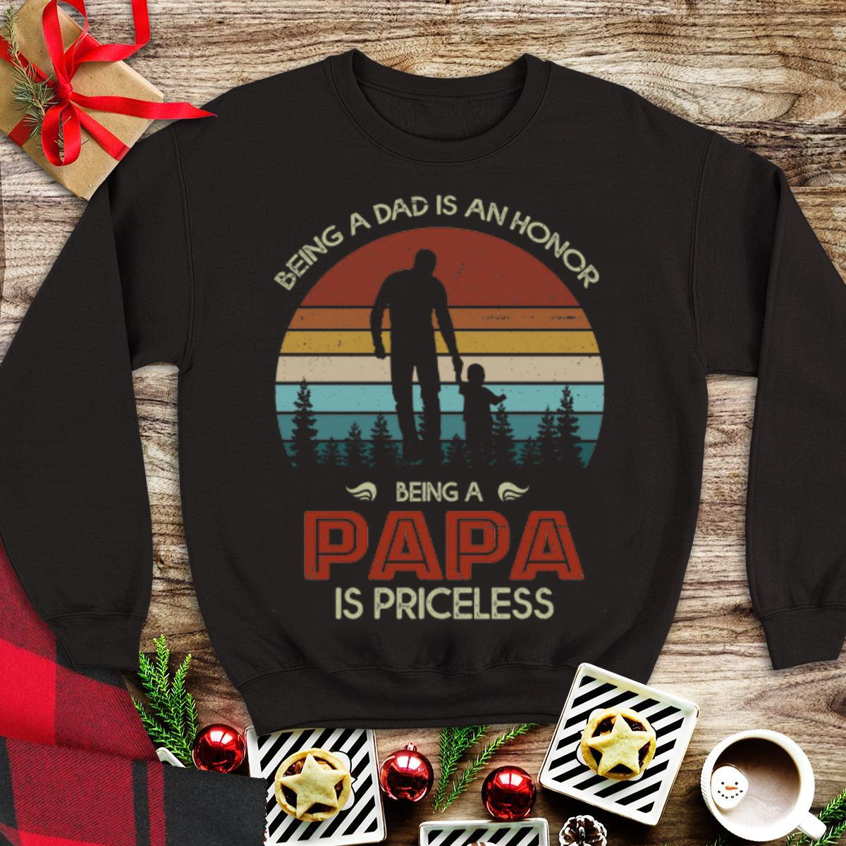 Vintage Being A Dad Is An Honor Being A Papa Is Priceless Shirt 1 1.jpg