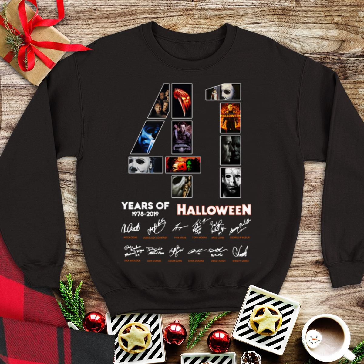 Awesome 41 Years Of Halloween 1978 2019 Jason Voorhees All Characters Signatures shirt