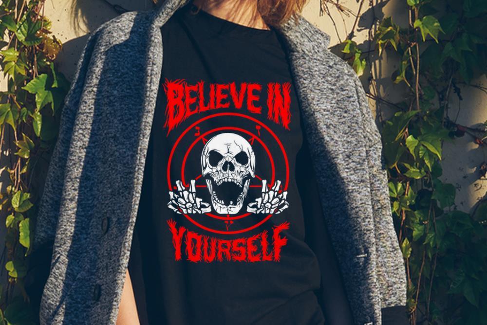 Awesome Believe In Yourself Death Metal Halloween Skull Shirt 2 1.jpg