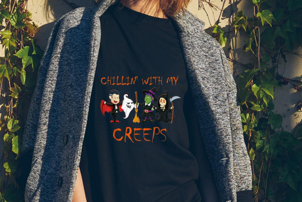 Awesome Chillin With My Creeps Vampire Ghost Witch Skeleton Shirt 2 1.jpg