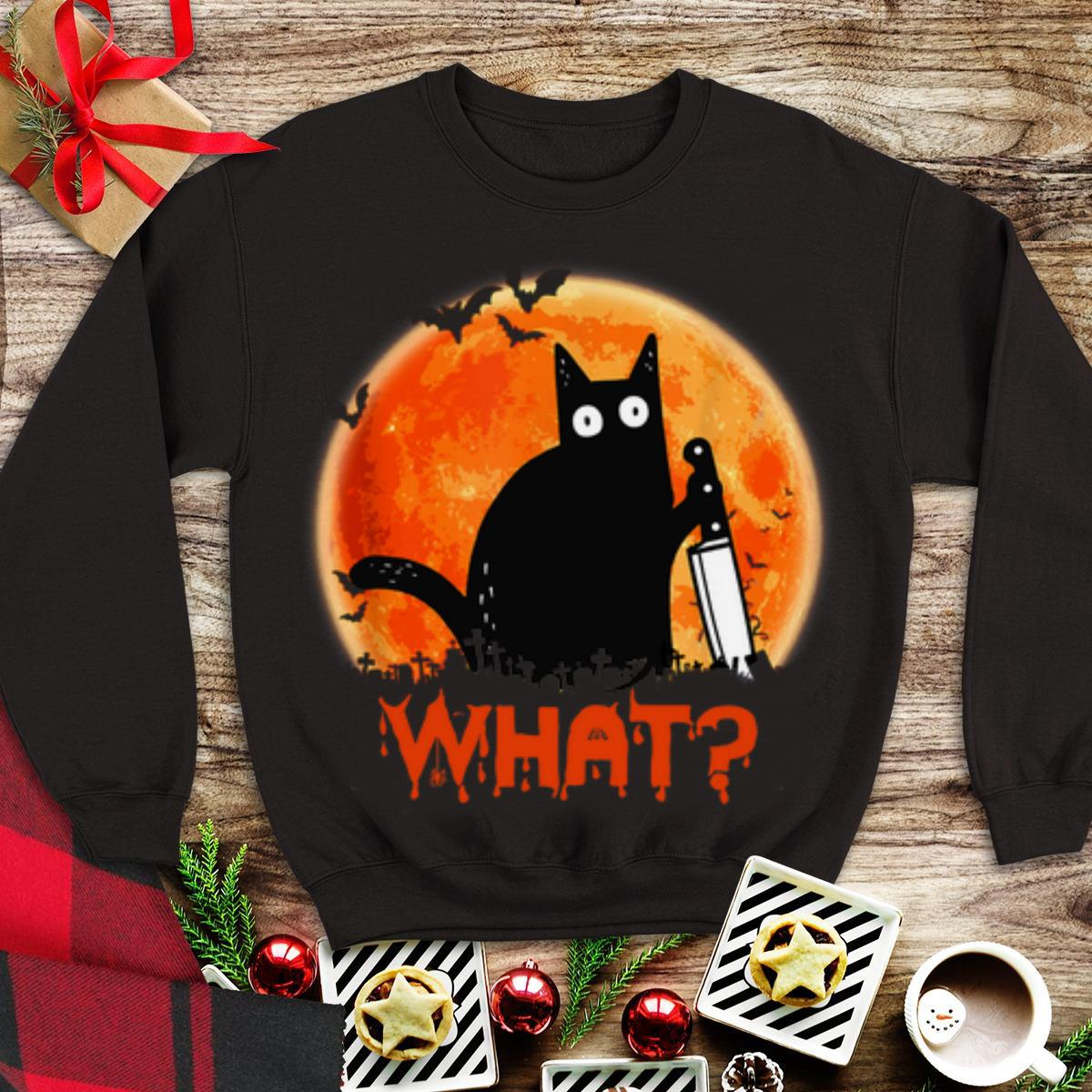 Awesome Sunset Black Cat What Halloween shirt