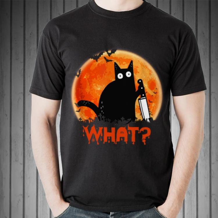 Awesome Sunset Black Cat What Halloween Shirt 2 1.jpg