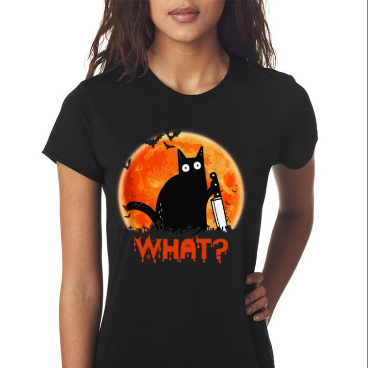 Awesome Sunset Black Cat What Halloween Shirt 3 1.jpg