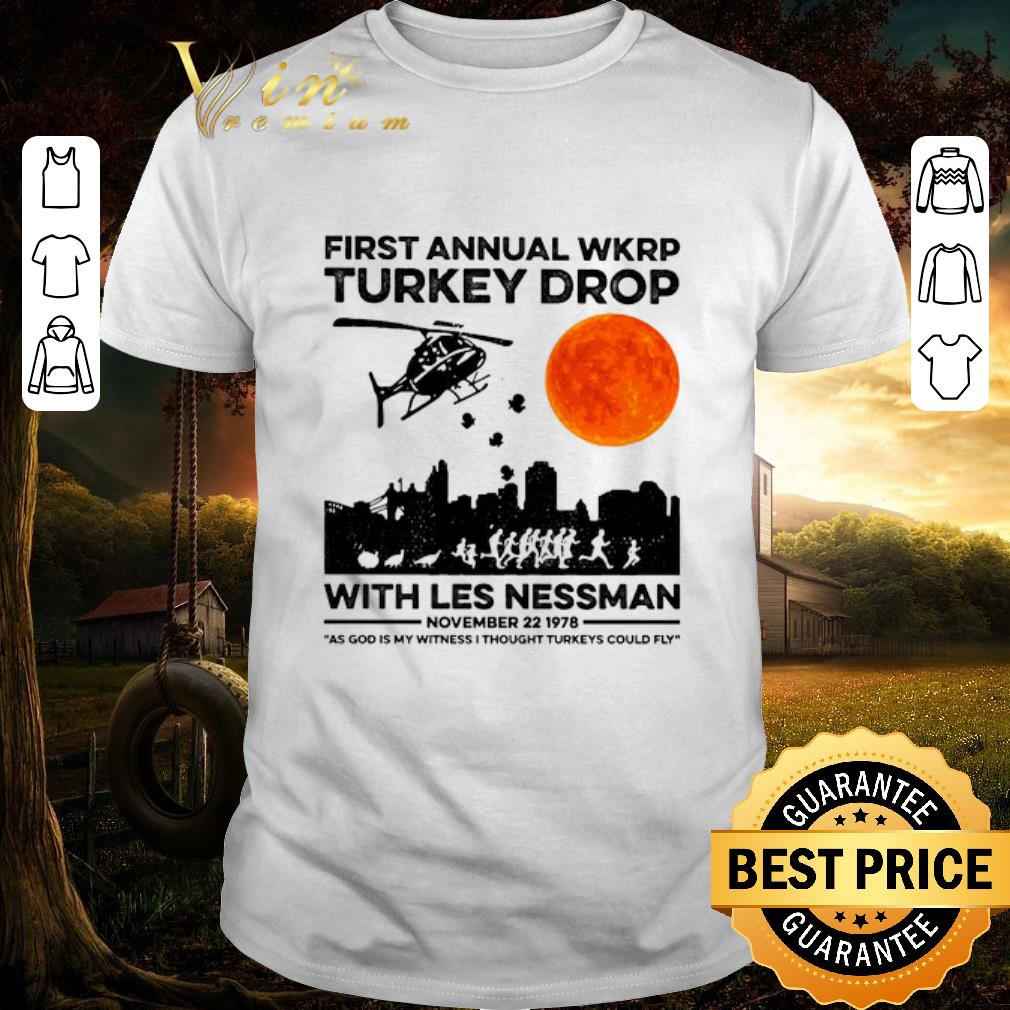 Funny First Annual Wkrp Turkey Drop With Less Nessman Sunset Shirt 1 1.jpg