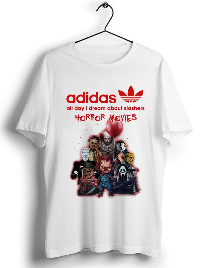 Official Adidas All Day I Dream About Slashers Horror Movie shirt