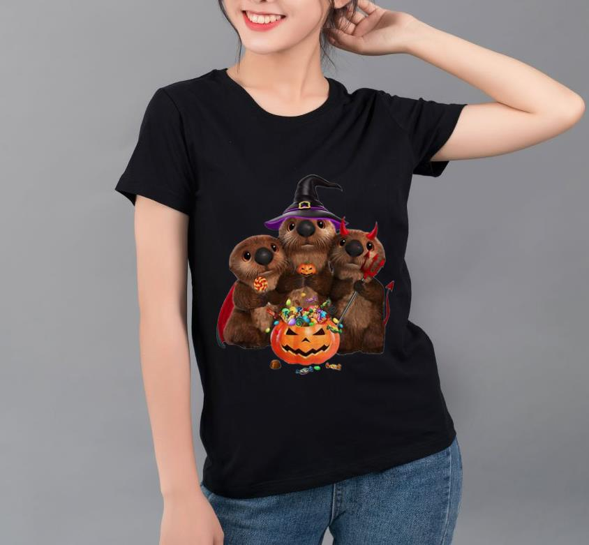 Official Otters Pumpkin Halloween Witch And Devil Otters shirt